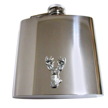 White Tailed Stag Deer Head 6 Oz. Stainless Steel Flask