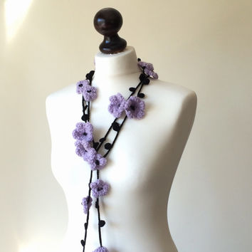Flower Scarf, Lilac Necklace, Crochet Necklace, Lariat, Beadwork, Crochet Accessories for Women, ReddApple, Gift Ideas