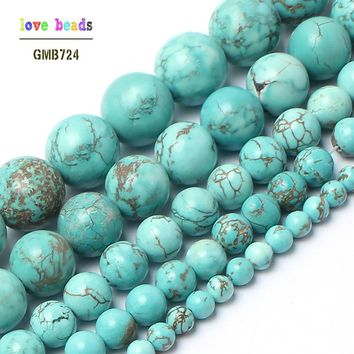 Natural Blue Turquoise Stone Round Beads for Jewelry Making 15.5''/strand  Pick Size 4 6 8 10 12 14mm