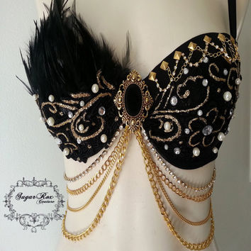 Black Enchanted Bra by SugarRoxCouture on Etsy