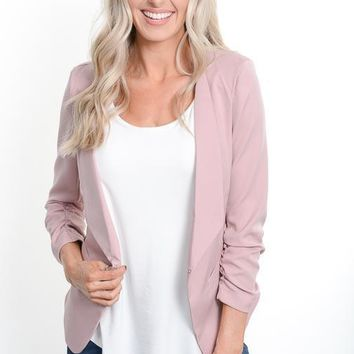 Blush Ruched Sleeve Blazer