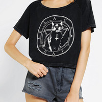 Urban Outfitters - Black Craft Black Cat Cult Cropped Tee