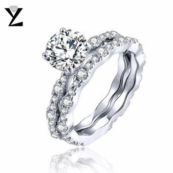 YL Bague Argent 925 Sterling Silver Ring Sets for Women Wedding Engagement Fine Jewelry Topaz Natural Stone Couple Promise Ring