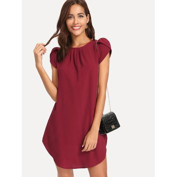 Petal Puff Sleeve Curved Hem Dress
