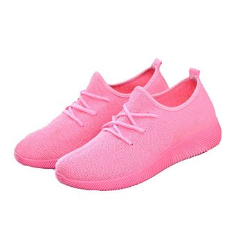 Women's Casual Laced Low-Cut Solid Color Tennis Shoes