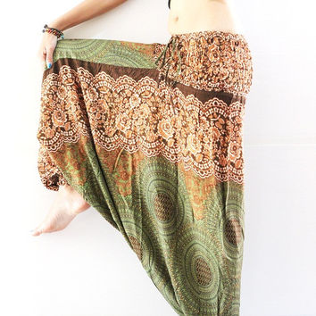 Boho pants Harem Pants boho clothing bohemian pants, green stretch pants