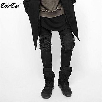 New Fashion Men Black Skinny Jeans Pants Hi-Street Hip Hop Men Denim Joggers Pants Designer Men Trouser