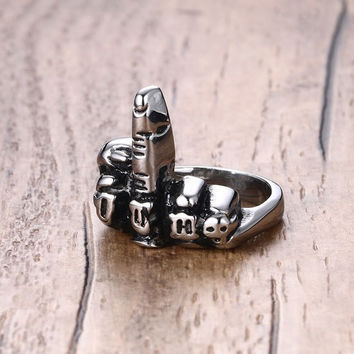 Middle Finger Silver Ring