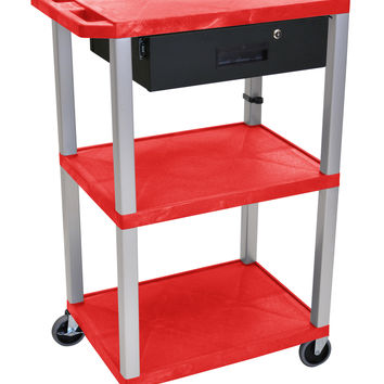 H. Wilson Movable Multipurpose Storage Organizer Utility Cart with drawer 3 shelf Red Nickel