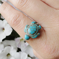 Turquoise Turtle Ring - Made in Your Size