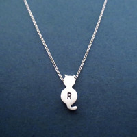 Cute, Cat, Personalized, Initial, Silver, Necklace