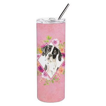English Pointer Pink Flowers Double Walled Stainless Steel 20 oz Skinny Tumbler CK4239TBL20