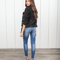 Friend Or Faux Suede Moto Jacket - Black