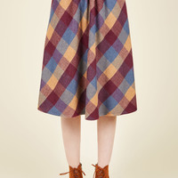 Sunday Sojourn Skirt in Warm Plaid | Mod Retro Vintage Skirts | ModCloth.com