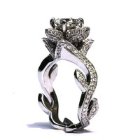 BLOOMING Work Of Art - Milgrain Flower Rose Lotus Diamond Engagement or Right Hand  Ring - Semi Mount - Setting - 14K white gold - fL07