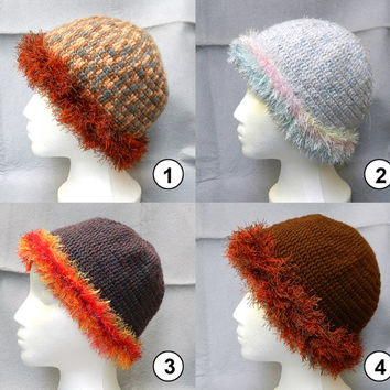 Cute and neat womens crochet hat with fancy fake fur crocheted trimming