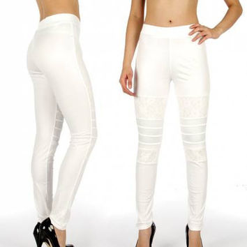 Liquid Leggings with Lace Patch Inserts One Size Fits Most in 5 Colors