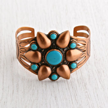 Vintage Copper Faux Turquoise Cuff Bracelet - 1960s Native American Style Signed Bell Costume Jewelry / Statement Tribal Flower