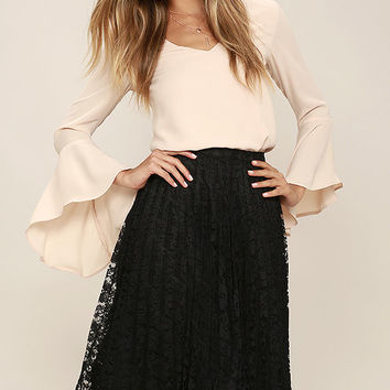 Sway Hello Black Lace Midi Skirt
