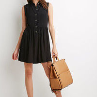 Buttoned Crepe Collared Dress