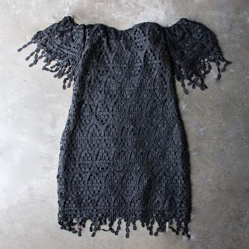 off the shoulder fringe crochet bodycon dress - black