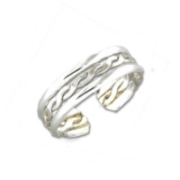 Stacked Braid Adjustable Toe Ring - Sterling Silver