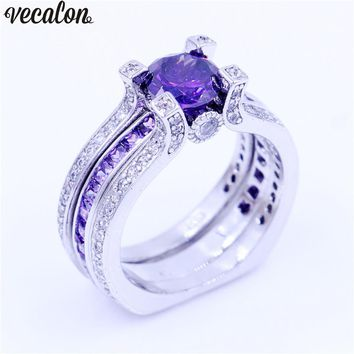 Vecalon Luxury Jewelry Female Engagement ring Purple 5A Cz 925 Sterling Silver Birthstone wedding Band ring Set for women men