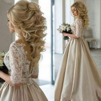 Half Sleeves Satin Lace Wedding Dresses with Illusion Back Custom Bridal Gowns