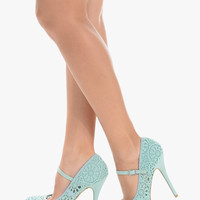 Elegant Crochet Mint High Heels