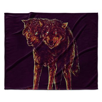 "BarmalisiRTB ""2head"" Purple Red Fleece Throw Blanket"