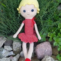 Pretty doll, with red dress, Crochet doll, Handmade cute toy, Blonde doll, Crochet and stuffed toy, Amigurumi