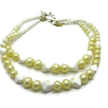 Hattie Carnegie Faux Pearl and Glass Bead Double Strand Vintage Necklace