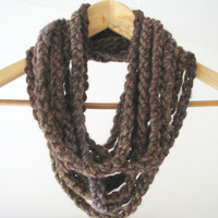 Brown Chuncky Infinite Loop Chain Necklace - Cowl - Ready To Ship | Luulla