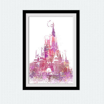 Disney castle watercolor print Disney colorful print Home decoration gift Wall hanging Disney poster Kids room art  Cinderella castle  W193