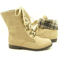 Women's Lace Up Cuffed Ankle Boots, Booties, Comfort, Casual, Combat 5.5-10US