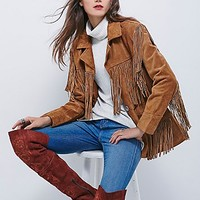 Understated Leather Womens Western Tan Fringe Jacket