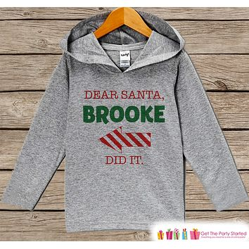 Dear Santa Christmas Sweater - Funny Kids Holiday Outfit - Grey Kids Hoodie Pullover - Santa Pictures - Family Outfits, Sibling Shirts