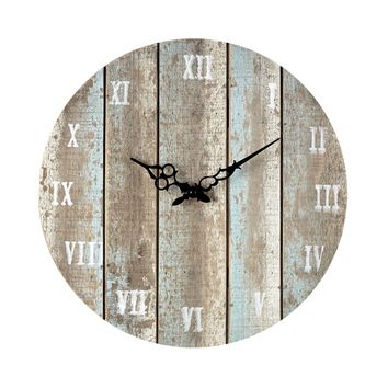 Wooden Roman Numeral Outdoor Wall Clock. Belos Light Blue
