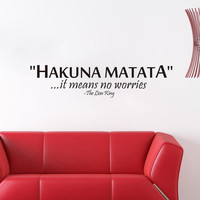The Lion King inspiration quote words Hakuna Matata No Worry home decor wall sticker for kids room popular cartoon