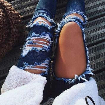 Jeans Women High Waist Ripped Jeans Skinny Hole Denim Pants