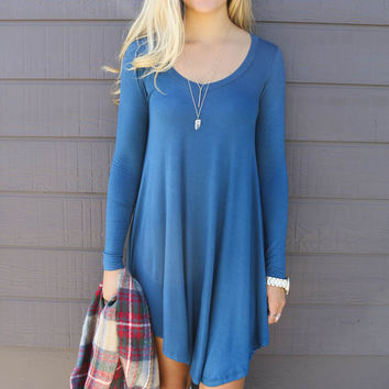 Follow Your Heart Dark Teal V-Neck Long Sleeve Dress