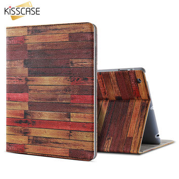 KISSCASE Wood PU Leather Tablet Case For iPad 2 iPad 3 iPad 4 Univeral Stand Function Flip Mini Cover For Apple iPad 2 3 4 Capa