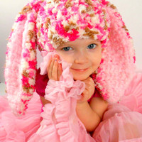 Bunny Hat Photo Props Cute Easter Clothes Hats for Kids Rabbit Ears Fluffy Pink