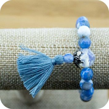 Faceted Sky Blue Fire Agate Wrist Mala with Opalite