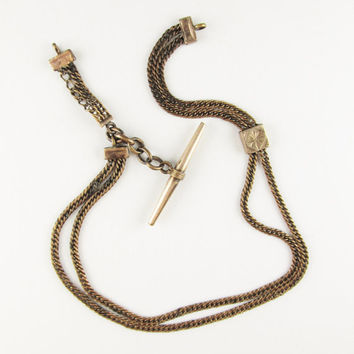 Antique Pocket Watch Chain with Slide and T-bar