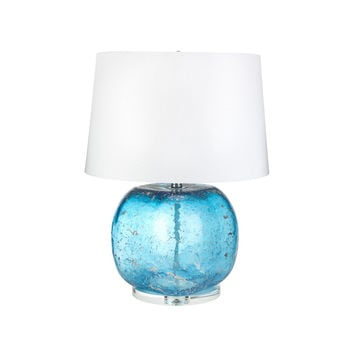 Silver Flecked Turquoise Glass Table Lamp with White Linen Shade