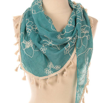 Mint Green Lace Scarf Cute Scarves  Unique Scarf - By PiYOYO
