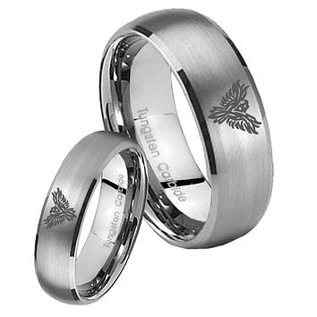 His Her Satin Silver Dome Phoenix Tungsten Carbide Wedding Rings Set