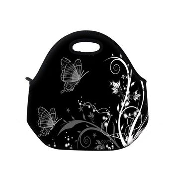 White Flower Insulated Neoprene Lunch Bag Tote Handbag Portable Lunchbox Waterproof Food Container Gourmet Tote For Women Kids