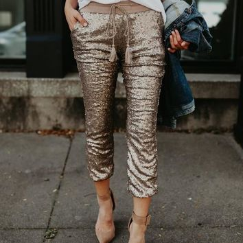 Golden Patchwork Sequin Pockets Drawstring High Waisted Nine's Pants